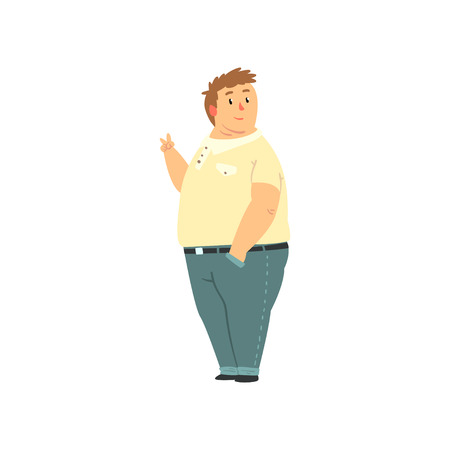 Illustration pour Handsome overweight man dressed jeans and shirt, fat guy in casual clothes, body positive vector Illustration isolated on a white background. - image libre de droit