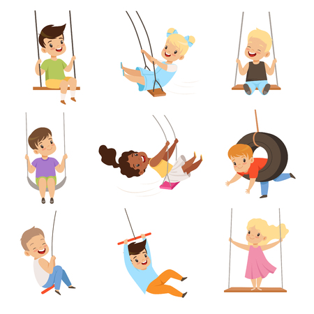 Illustration for Cute little kids swinging on rope swings, boys and girls having fun outdoor vector Illustration isolated on a white background. - Royalty Free Image