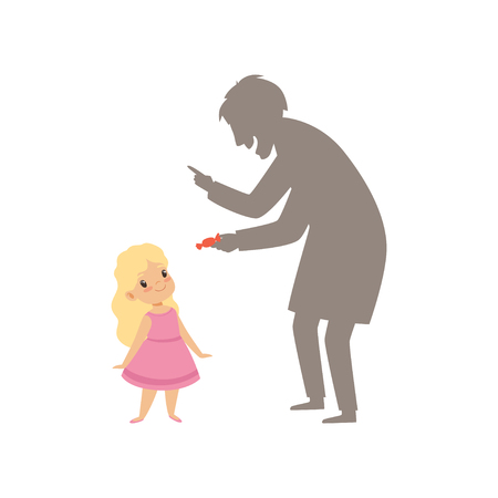 Ilustración de Suspicious stranger offering a candy to a little girl, kid in dangerous situation vector Illustration isolated on a white background. - Imagen libre de derechos
