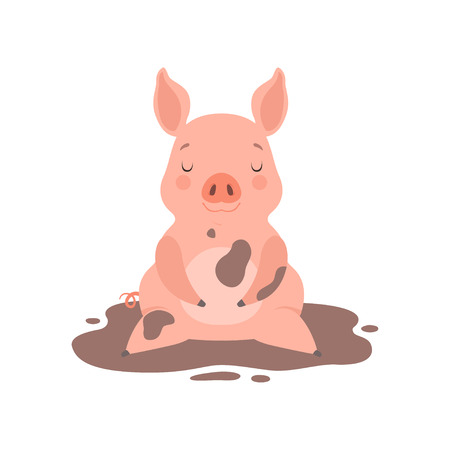 Ilustración de Cute little pig sitting in a dirty puddle, funny piglet cartoon character vector Illustration isolated on a white background. - Imagen libre de derechos