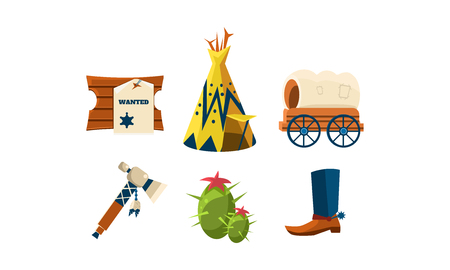 Ilustración de Set of cartoon attributes of wild west. Cowboy s boot, wigwam, green cactus, wooden board with wanted poster and carriage. Graphic elements for mobile game. Isolated vector illustrations in flat style - Imagen libre de derechos