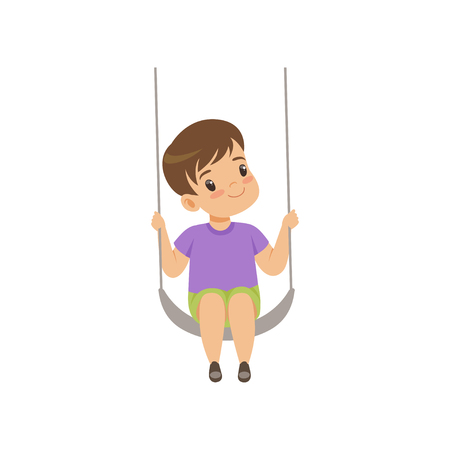 Illustration for Cute boy swinging on a rope swing, little kid having fun on a swing vector Illustration isolated on a white background. - Royalty Free Image
