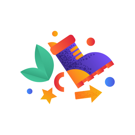 Ilustración de Hiking boot, camping, summer travel equipment vector Illustration on a white background - Imagen libre de derechos