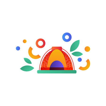 Ilustración de Tent, camping, scouting summer travel equipment vector Illustration isolated on a white background. - Imagen libre de derechos