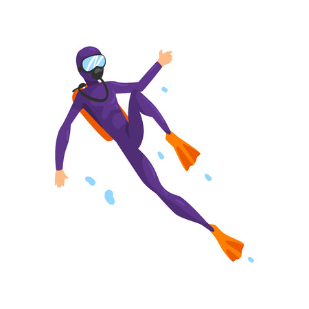 Illustration pour Man in diving suit and fins swimming underwater with scuba vector Illustration isolated on a white background. - image libre de droit