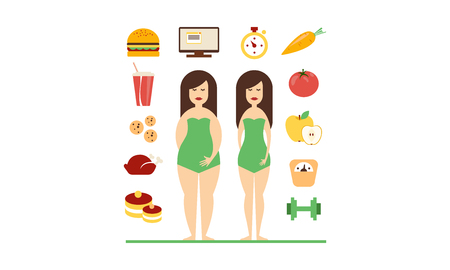 Illustrazione per Fat and slim female figures, fast food and healthy eating, bad habits and healthy lifestyle vector Illustration isolated on a white background. - Immagini Royalty Free