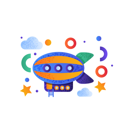 Illustration pour Vintage airship, colorful toy air vehicle vector Illustration isolated on a white background. - image libre de droit