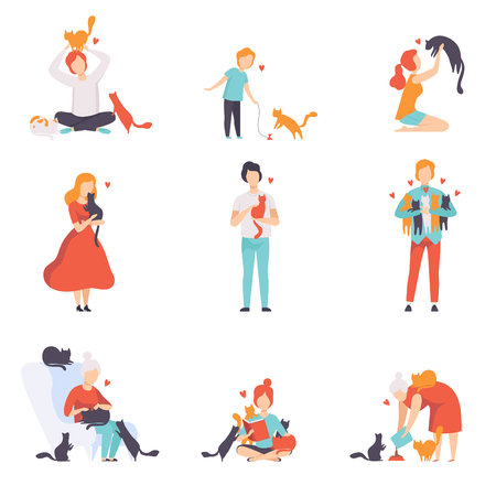 Illustrazione per People caring, feeding and playing with their cats set, adorable pets and their owners vector Illustration isolated on a white background. - Immagini Royalty Free
