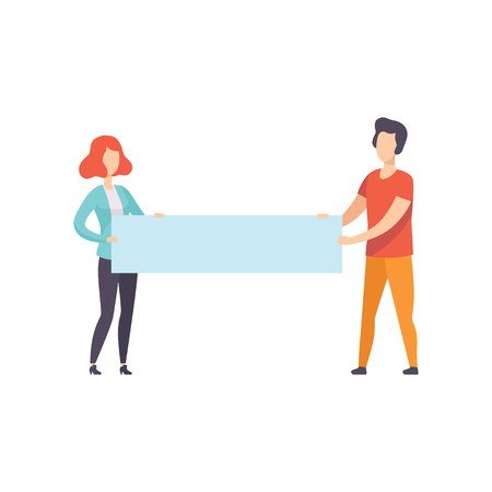 Illustration for Young man and woman holding blank banner, promotion, advertising or peace protest concept vector Illustration isolated on a white background. - Royalty Free Image
