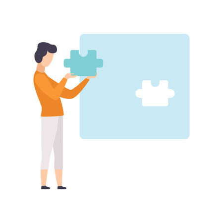 Illustration for Young man putting last puzzle in jigsaw, guy connecting puzzle elements vector Illustration isolated on a white background. - Royalty Free Image
