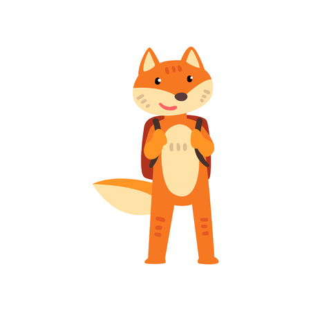 Illustration for Fox standing with backpack, cute animal cartoon character, school education and knowledge concept vector Illustration isolated on a white background. - Royalty Free Image