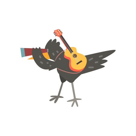 Ilustración de Raven travelling with guitar and spyglass, cute cartoon bird having hiking adventure travel or camping trip vector Illustration on a white background - Imagen libre de derechos