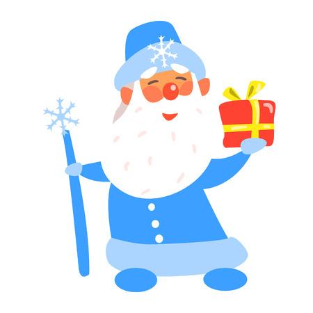 Illustration pour Father Frost with a Present, Flat Vector Illustration - image libre de droit