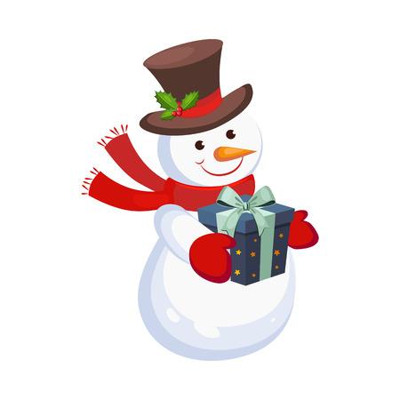 Ilustración de Cheerful Snowman holding a Present. Holiday Vector - Imagen libre de derechos