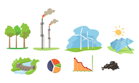Illustration for Electricity and energy sources set, wind, hydro, solar power generation facilities vector Illustration on a white background - Royalty Free Image