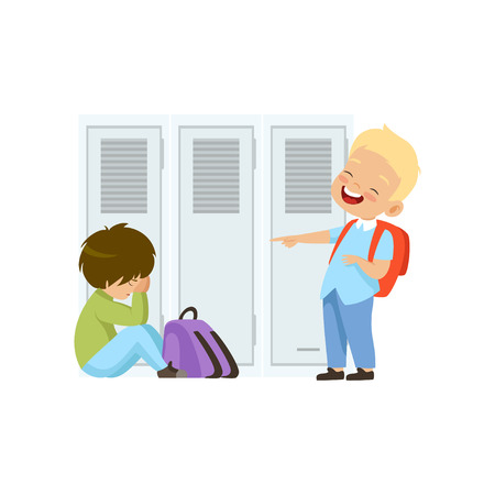 Ilustración de Boy laughing and pointing at another boy who is sitting on the floor, bad behavior, conflict between kids, mockery and bullying at school vector Illustration isolated on a white background. - Imagen libre de derechos