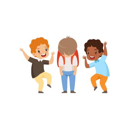 Ilustración de Classmates mocking sad boy, bad behavior, conflict between kids, mockery and bullying at school vector Illustration isolated on a white background. - Imagen libre de derechos