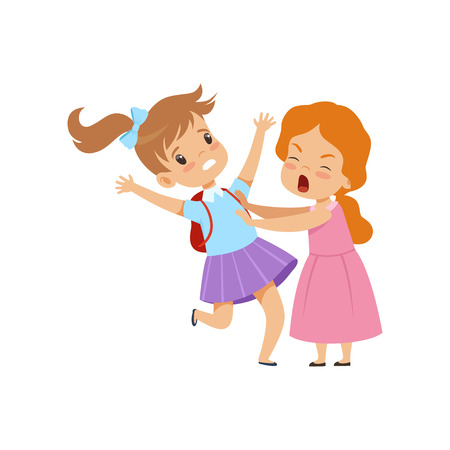Illustrazione per Two girls fighting, bad behavior, conflict between kids, mockery and bullying at school vector Illustration isolated on a white background. - Immagini Royalty Free
