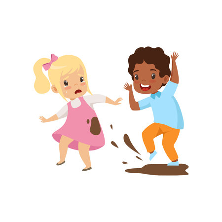Illustrazione per Boy dirtying the girl with dirt, bad behavior, conflict between kids, mockery and bullying at school vector Illustration isolated on a white background. - Immagini Royalty Free
