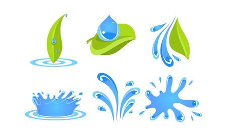 Illustration pour Green leaves, water drops and splashes, ecology concept vector Illustration on a white background - image libre de droit