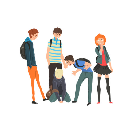 Illustrazione per Sad teen boy sitting on floor surrounded by classmates mocking him, conflict between children, mockery and bullying  at school vector Illustration on a white background - Immagini Royalty Free