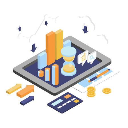 Illustration pour Flat 3d isometric business finance analytics, chart graphic report on tablet web infographic concept vector. Hourglass calculator money coins documents and collage on tablet. Stylish website banner. - image libre de droit