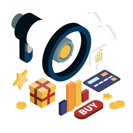 Illustrazione per Promotion online marketing flat 3d web isometric infographic modern technology communication concept. Huge loudspeaker - Immagini Royalty Free