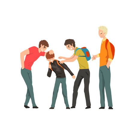 Illustrazione per Group of young people mocking a boy, conflict between children, mockery and bullying  at school vector Illustration on a white background - Immagini Royalty Free