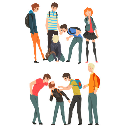 Illustrazione per Conflict between teenagers, mockery and bullying at school vector Illustration isolated on a white background. - Immagini Royalty Free