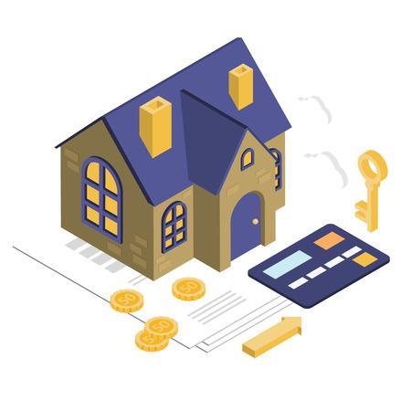 Illustration pour Isolated Isometric House, Vector Property Set - image libre de droit