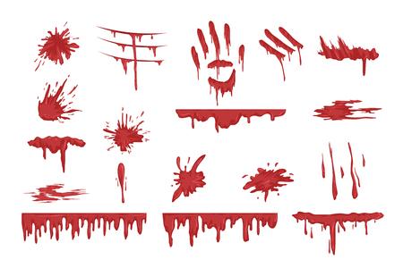 Ilustración de Blood spatters set, dripping blood and stains vector Illustrations on a white background - Imagen libre de derechos