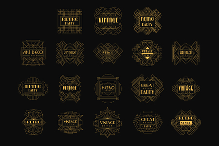 Ilustración de Decorative golden set in vintage style. Elegant retro emblems in geometric shape. Linear vector for business card, fashion boutique, party or wedding invitation - Imagen libre de derechos