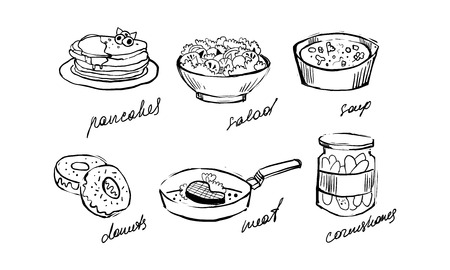 Illustrazione per Traditional food set, pancakes, salad, soup, donuts, meat, cornichons hand drawn vector Illustration on a white background - Immagini Royalty Free