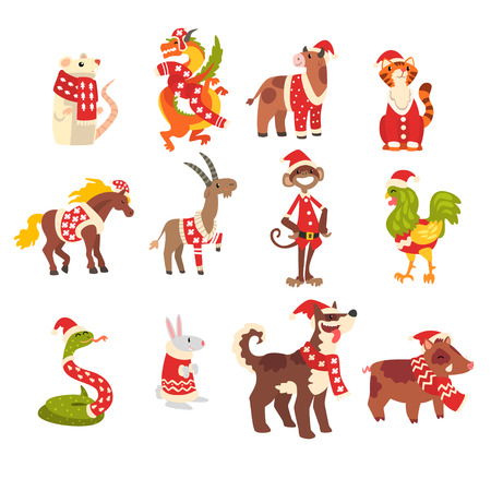 Ilustración de Symbols of New Year set, cute animals of Chinese horoscope in Santa Claus costumes vector Illustration isolated on a white background. - Imagen libre de derechos
