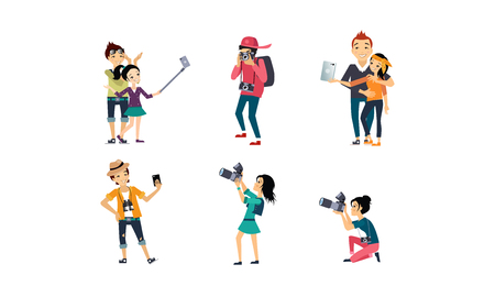 Illustration pour People taking photos set, professional photographer with camera, creative people doing selfie vector Illustration isolated on a white background. - image libre de droit