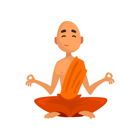 Ilustración de Buddhist monk cartoon character sitting in meditation in orange robe vector Illustration on a white background - Imagen libre de derechos