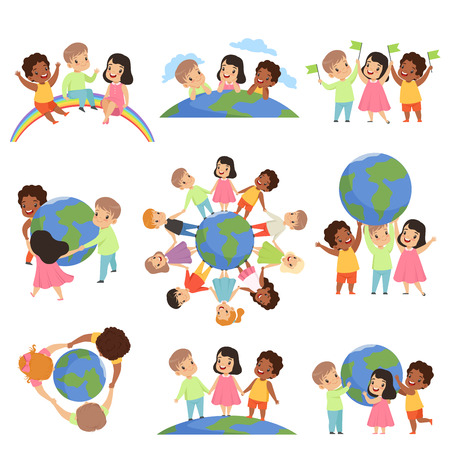 Illustration pour Collection of multicultural little kids holding Earth globe together, friendship, unity concept vector Illustration isolated on a white background. - image libre de droit