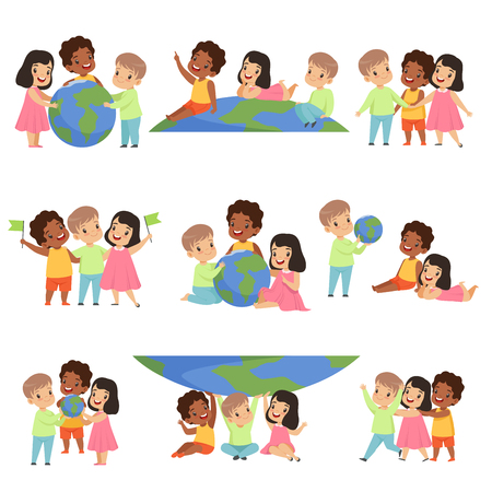 Ilustración de Collection of happy multicultural little kids standing together, friendship, unity concept vector Illustration isolated on a white background. - Imagen libre de derechos