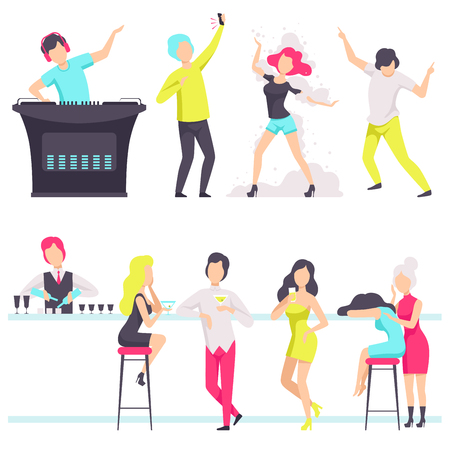 Illustration pour People in fashionable clothes resting and drinking cocktails at the nightclub, bartender mixing cocktails at the bar counter, DJ playing, mixing music vector Illustration isolated on a white background. - image libre de droit
