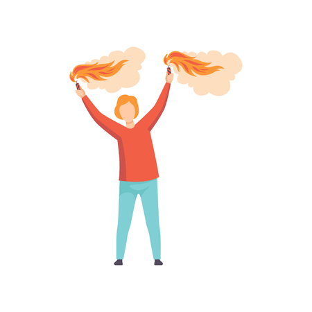 Illustration for Young man holding burning flare with smoke over his head, guy celebrating holiday vector Illustration isolated on a white background. - Royalty Free Image