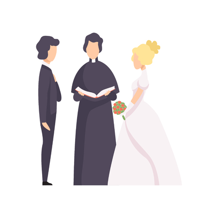 Illustration pour Couple of newlyweds and priest officiating wedding ceremony vector Illustration isolated on a white background. - image libre de droit