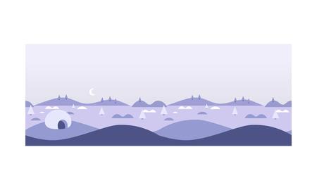 Ilustración de Wild northern landscape, igloo eskimo people house, North Pole vector Illustration, web design - Imagen libre de derechos