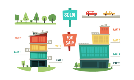 Ilustración de Real estate infographic elements, purchase and sale of property vector Illustration isolated on a white background. - Imagen libre de derechos