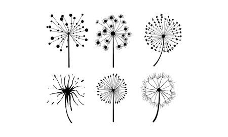 Ilustración de Vector set of 6 dandelions in linear style. Flower with fluffy seeds. Floral theme - Imagen libre de derechos
