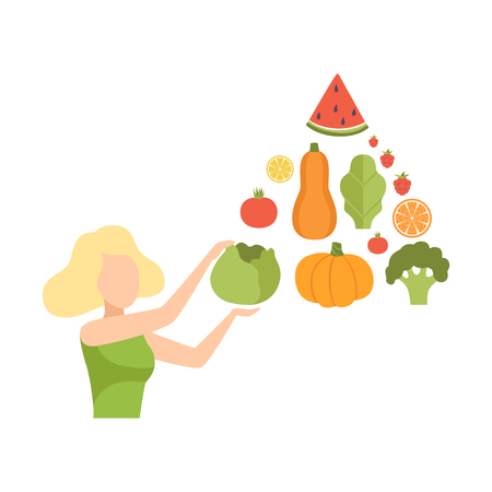 Illustrazione per Young woman with a pyramid of vegetables and fruits, healthy eating, diet, organic vegan food vector Illustration isolated on a white background. - Immagini Royalty Free