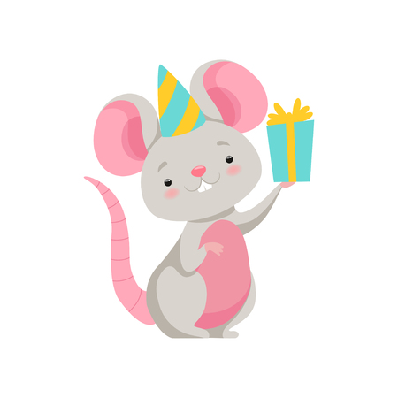 Illustrazione per Cute mouse in party hat holding gift box, funny animal cartoon character vector Illustration isolated on a white background. - Immagini Royalty Free