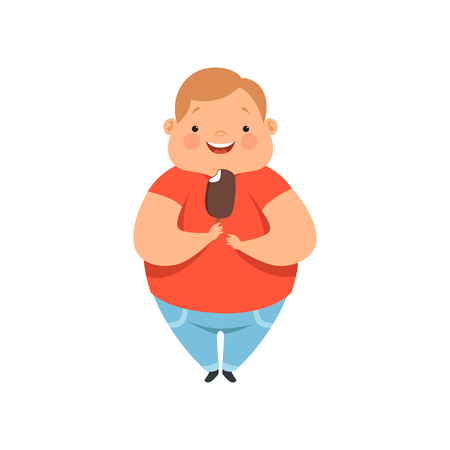 Illustrazione per Overweight boy eating ice cream, cute chubby child cartoon character vector Illustration isolated on a white background. - Immagini Royalty Free