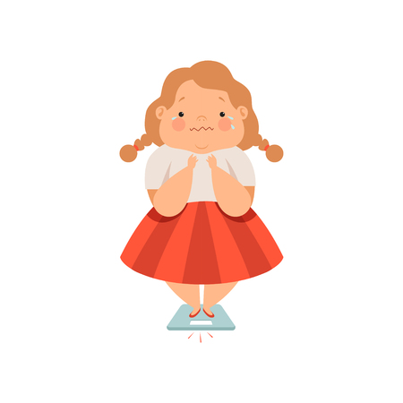 Illustrazione per Overweight sweaty girl, cute chubby child cartoon character vector Illustration isolated on a white background. - Immagini Royalty Free