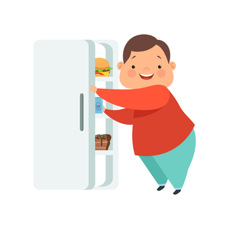 Ilustración de Overweight boy opening fridge with junk food, cute chubby child cartoon character vector Illustration isolated on a white background. - Imagen libre de derechos