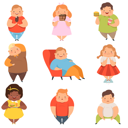 Ilustración de Overweight boys and girls set, cute chubby children cartoon characters eating fast food vector Illustration isolated on a white background. - Imagen libre de derechos